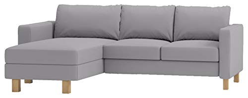 Durable Dense Cotton Karlstad Loveseat ( Two Seat ) Sofa with Chaise Lounge Sectional Cover Replacement. Cover Only! Compatible with IKEA Karlstad Slipcovers. ( Light Gray)