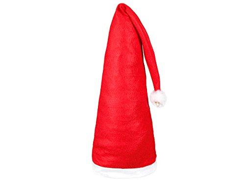 Lot de 2 Bonnet de Père Noel Noël long environ 110 cm (wm-06) Coloris rouge et blanc. avec 2 pompons et 2 grelots l''accessoire festif idéal pour les