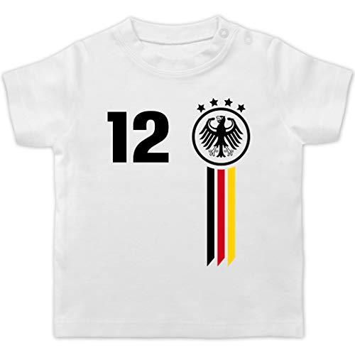 Fußball-Europameisterschaft 2021 - Baby - 12. Mann Deutschland WM - 12/18 Monate - Weiß - BZ02_Baby_Shirt - BZ02 - Baby T-Shirt Kurzarm
