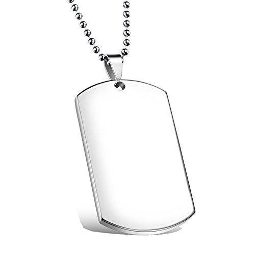NEHZUS, collana da uomo, in acciaio inox, con piastrina incisa. Catenina lunga 55,9cm. Personalizzabile e acciaio inossidabile, colore: Silver, cod. NEHZUS-ST001S