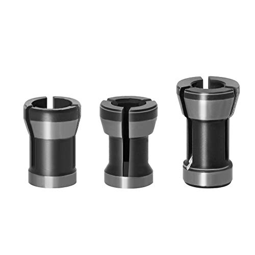 A-XINTONG 3PCS Die Grinder Collet Set 6mm 6.35mm 8mm Collet Chuck Engraving Trimming Machine Electric Router For Machinery Manufacturing Woodworking Milling Cutter Accessories