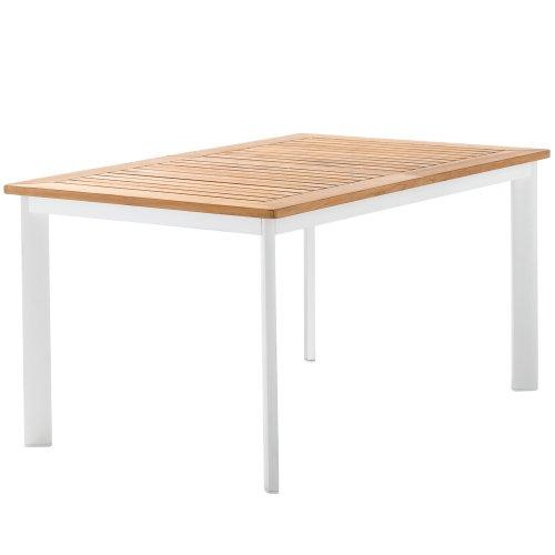 Sieger 687/W Gartentisch mit Aluminium-Gestell und Platte aus Plantagen-Teakholz, weiß