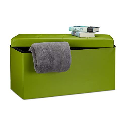 Relaxdays 10019044_53 Pouf Pieghevole, Panca con Contenitore e Coperchio Rimovibile, Tessuto, Verde, 76 x 38 x 38 cm