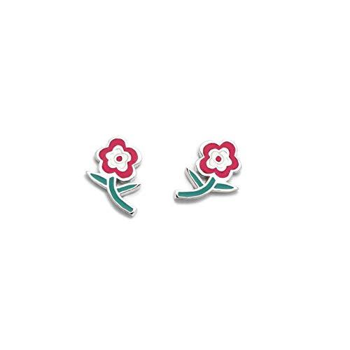 925m silver earrings Law Agatha Ruiz de la Prada 11mm. Green enameled flower collection [AC1563]