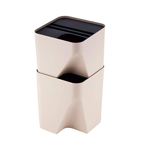 Xiaoli Cubo de Basura Papelera apilable Cubo de Basura plástica Creativa con la Tapa Simples de la casa Plaza Bote de Basura, 2 Colores, 2,6 litros / 3.9 galones Papeleras (Size : Beige-10L+15L)