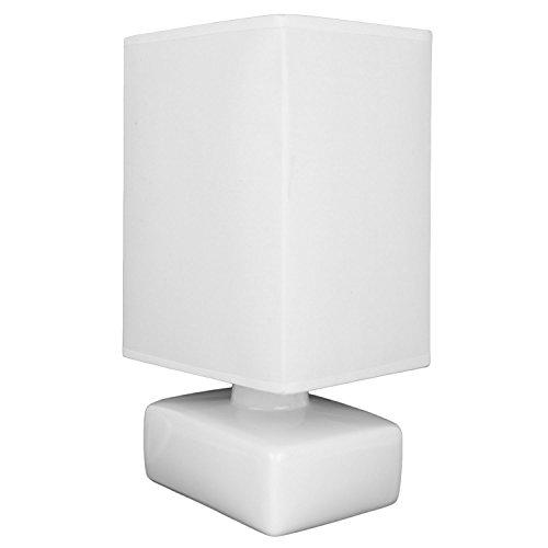 Lampada da tavolo Anne O'Leary con base in ceramica e paralume in tessuto, di forma rettangolare (15 x 12 x 28.5 cm), bianco (disponibile in rosa, bianco, grigio o nero)