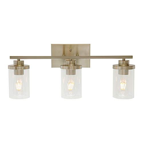 ELUZE 3-Light Bathroom Light, Brushed Nickel Vanity Light Fixtures, Bathroom Wall Sconce Lighting with Clear Glass Shades for Bathroom Dressing Table Mirror Cabinets Vanity Table Hallway