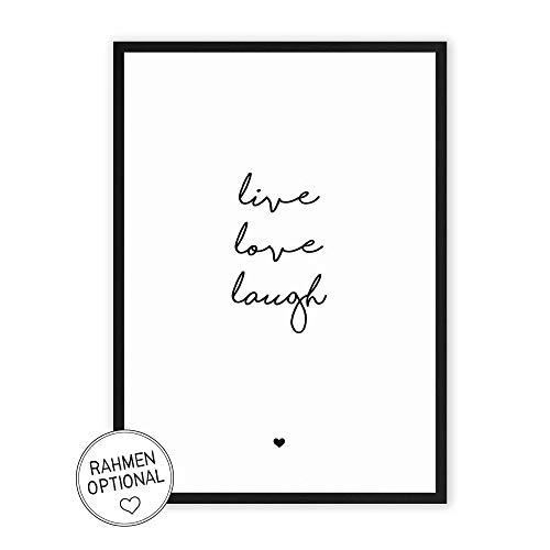 live love laugh - Kunstdruck auf wunderbarem Hahnemühle Papier DIN A4 -ohne Rahmen- schwarz-weißes...