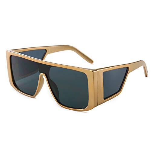 Gafas de Sol Gafas De Sol Cuadradas Grandes De Gran Tamaño con Parte Superior Plana, Gafas De Sol Femeninas De Marca De Lujo, Máscara Retro Vintage para Mujeres Y Hombres Uv400 C5