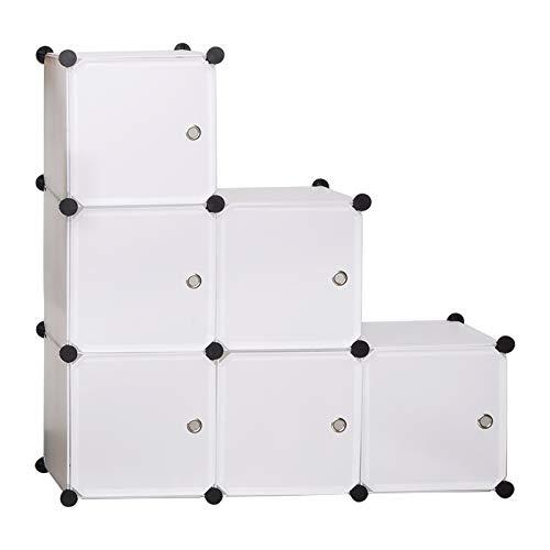 WOLTU Garderobenschrank SR0056ws DIY Kleiderschrank Regalsystem Steckregal Aufbewahrung Lagerregal Bücherregal mit Tür, 6 Fächer, Kunststoff, 96x30x96cm(BxTxH), Weiß
