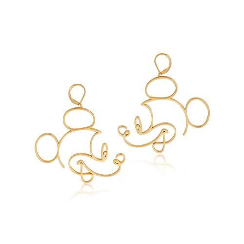 Pendientes para niñas y niñas de Disney Mickey Mouse de Mickey Mouse, chapados en oro amarillo de 14 quilates