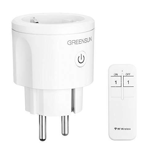 Enchufe Inteligente, GreenSun Toma mando a distancia, Enchufe de automatización del hogar con control remoto RF 16A Smart Plug