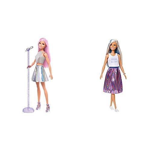 Barbie Quiero Ser Cantante, muñeca con Accesorios (Mattel FXN98) + Fashionista Muñeca con Mechas Azules y Falda Estampada (Mattel FXL53) , Color/Modelo Surtido