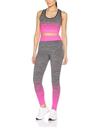 FM London Crop Top And Leggings Set Abbigliamento Sportivo, Rosa (Pink), Unica (Taglia Produttore: 8-14) Donna