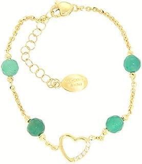 Gabriela Rigamonti Jewels-Bracciale in Oro giallo 18kt con gemma agata verde naturale.