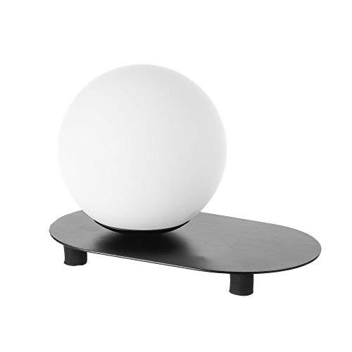 Lámpara de mesa de bola industrial de metal y cristal negra de 15x15x25 cm