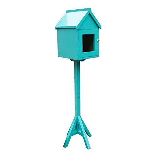 TINGTING-Briefkästen, Kleines Haus Aus Massivem Holz Vierbeiner-Patio Stehende Vorschlagbox Cafe Beverage Store-Dekoration (Farbe : Blau, größe : L)