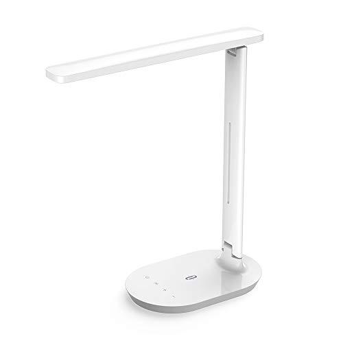 TaoTronics Lampe de Bureau à LED, Lampe de Table avec 5 Niveaux de Luminosité et 3 Modes de Couleurs Réglable, Lampe de Chevet à Commande Tactile pour Travail Lecture (Blanc)