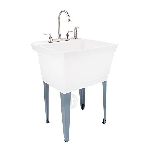 19-Gallon Laundry Utility Tub by MAYA| Thermoplastic Basin, Adjustable Metal Legs, Heavy-Duty Lead-Free Metal Faucet With Side Spray, Includes Everything Necessary For A Complete Installation