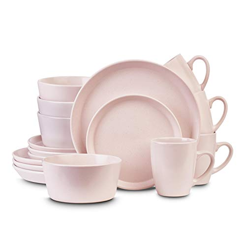 Stone Lain - Vajilla de cerámica para 4, color rosa claro