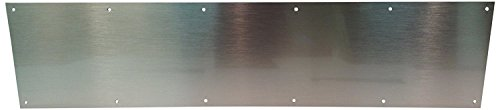 Stainless Steel Door Kick or Mop Plate, 12' x 30' Plate Size, for Door Widths 31'+