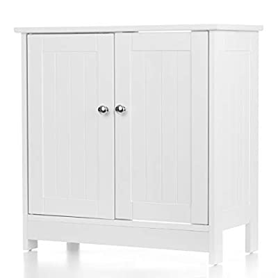 "iKayaa Modern Under Sink Storage Cabinet with 2 Doors Bathroom Vanity Furniture 23.6"" H x 23.6"" L White"