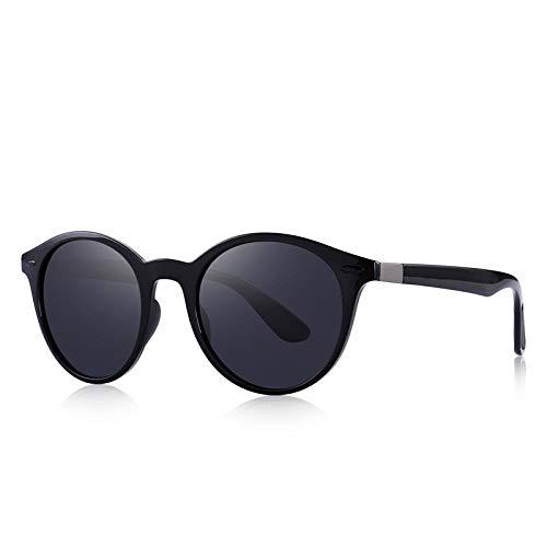 Dopam Do Design TR90 - Gafas de sol polarizadas para hombre y mujer, diseño retro, color negro, (C01 Black), Talla única