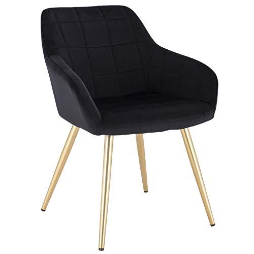 WOLTU® Esszimmerstuhl BH232sz-1 1 Stück Küchenstuhl Polsterstuhl Wohnzimmerstuhl Sessel mit Armlehne, Sitzfläche aus Samt, Gold Beine aus Metall, Schwarz