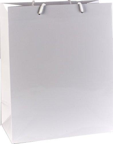 Les Couleurs de l'Emballage – 26 + 13 x 32 cm Sac de courses – Blanc (lot de 20)