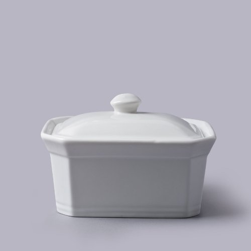 Beurre Cks Terrine Avec Couvercle En Céramique Blanche