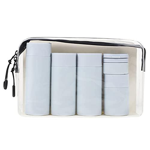 DOITOOL - Set di 6 bottiglie da viaggio trasparenti con 6 bottiglie di liquido, kit di lavaggio per cosmetici e bagagli, colore: blu