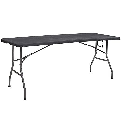 SPRINGOS Mesa plegable para fiestas, banquetes de jardín, para gastronomía, con asa, función de maleta, plástico y metal, para interior y exterior (negro)