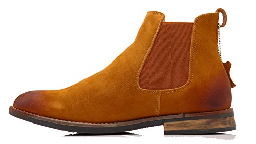 Enzo Romeo BL01 Men's Chelsea Boots Dress Fashion Slip On Suede Leather Ankle Boots (6.5 D(M) US, Tan)