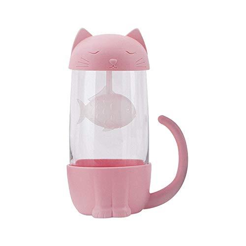 Taza de té de cristal del gato Taza De Agua Bottle-With Fish...