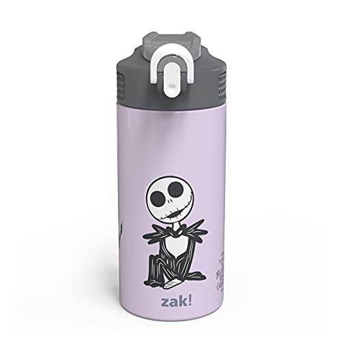 Zak Designs Disney The Nightmare Before Christmas Vacuum Insulated Kids Water Bottle 14 oz 18/8 Stainless Steel Thermos Kids Water Bottle with Flip-Up Straw Spout and Locking Spout Cover, Durable Cup for Sports or Travel