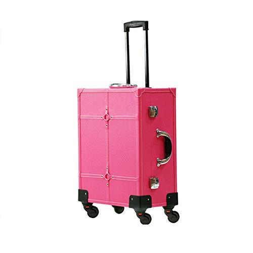 KINYNE Maletín para Maquillaje Estuche Cosmético Trolley con Luz LED // Mirror Artist Rolling Makeup Box Caja De Tren Caja De Organizador Portátil,D