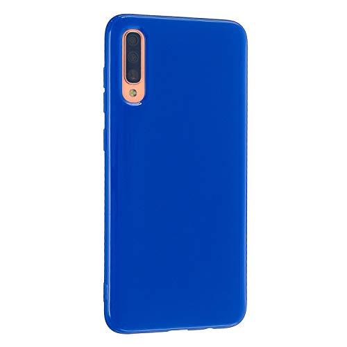 CrazyLemon Hülle für Samsung Galaxy A71, Niedlich Volltonfarbe Gelee Design Weich TPU Silikon Slim Dünn Handyhülle Stoßfest Schutzhülle - Königsblau