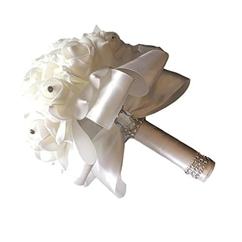 VusiElag Boda Blanca sosteniendo Flores Flores Falsas Ramo de Boda para Novia...