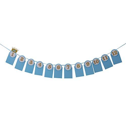 Amosfun - Guirnalda para colgar de 12 meses para bebés, diseño con texto en alemán, color azul