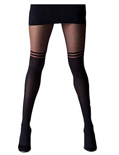Mangotree Mode Schwarzes Kreuz Band Vintage Ausdehnungs-Strumpfhosen Pantyhose Ultradünne Strümpfe Bandage Jahrgang Leggings Strumpfhosen (One size, D# Schwarz)