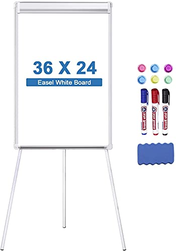 Easel Whiteboard Tripollo Magnetic Dry Erase Tripod Board 36 x 24 inch Adjustable Flipchart with Paper Clamp and Hooks for Office Home Classroom and Restaurant (Stand White, 36X24 inch)