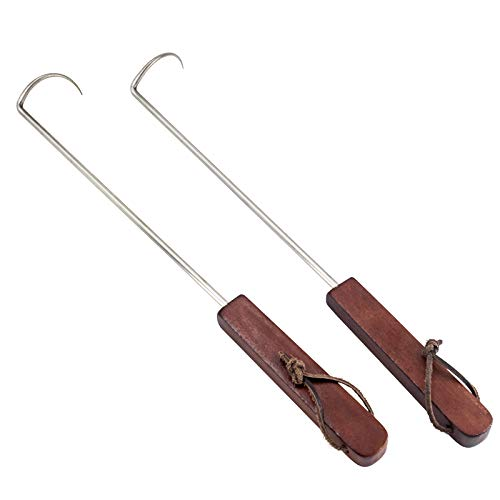 Nonley Food Flipper Hooks, Stainless Steel BBQ Meat Turner Hook with Wooden Handle,Best Grill Accessories for Grilling & Smoking(2 PCS)