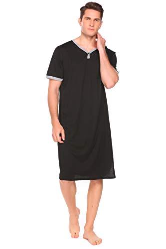 INZOE Herren Nachthemd Kurzarm Schlafanzug Kurz V-Ausschnitt Männer Einteiler Pyjama Oberteil mit Brusttasche Sommer Schwarz L