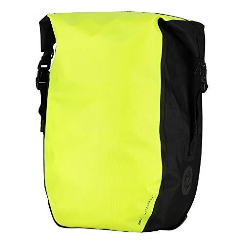 AGU Clean Fahrradtaschen Large, Tasche für Gepäckträger Fahrrad, 21L Seitentasche Fahrrad, Wasserabweisend, Reflektierend, 100% Recyceltes Polyester - Fluo Gelb