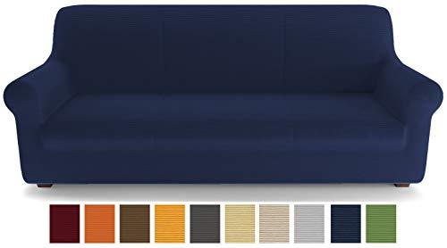 PETTI Artigiani Italiani - Copridivano, Blu, Copridivano 3 Posti, Copridivano Elasticizzato, Copridivano Blu, Tessuto Lineare, 100% Made in Italy