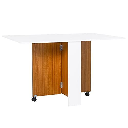 homcom Tavolo da Pranzo Design Moderno Pieghevole con Ruote 120 × 80 × 73cm