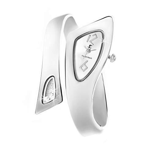 So Charme - Reloj brazalete, color plateado, fabricado con cristal de Swarovski