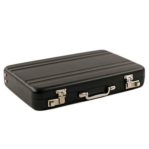 Yiifunglong Casa de muñecas miniatura de aleación de aluminio maleta maletín de juguete para 1/6 muñeca casa accesorio - negro