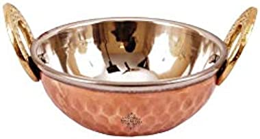 Indian Art Villa Hammered Design Steel Copper Serving Small Kadhai Wok Bowl- Home, Hotel, Restaurant, Tableware, Volume-200 M