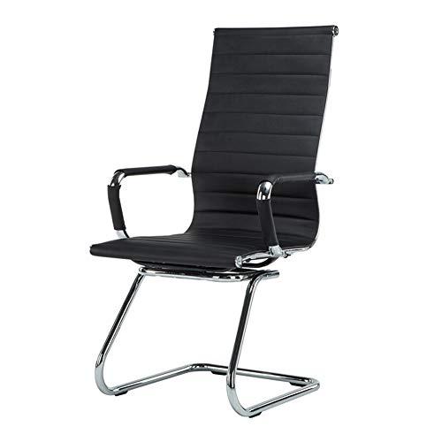 Silla de oficina ergonómica, silla de escritorio, silla de escritorio, silla de ordenador, House Comfort, patas de acero, reposabrazos fijos, piel sintética, color negro